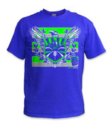 Sodo Rising T-Shirt- Sfty Grn/ Royal
