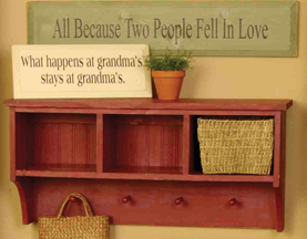 llc wall with shelf shelves sawdust hooks country city