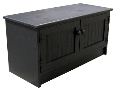 Coffee Table Storage Cabinet. Shown In Solid Black With Beadboard Doors