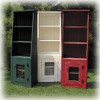 Cantback hutches shown in Old Green, Old Cottage White, and Old Red with screen doors
