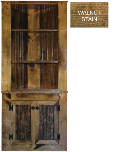 Shown in Walnut Stain and Poly with beadboard doors (split in two pieces for shipping)