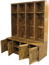 Four short lockers on top of two #7056 Double Deep Benches (with optional doors) in Walnut Stain & Poly  (each piece sold separately)
