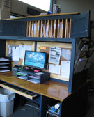 Shown in Old Blue with Butternut Stain & Poly Desktops
