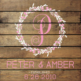 Style 2: Shown in Walnut Stain, Cottage White lettering, and Pink accent