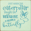 Just when the caterpillar thought the world was over - Wooden Sign Shown in Old Baby Green with Turquoise lettering