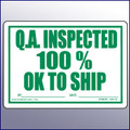 Inspected 100% - OK to Ship Large Quality Assurance Label 4 x 6