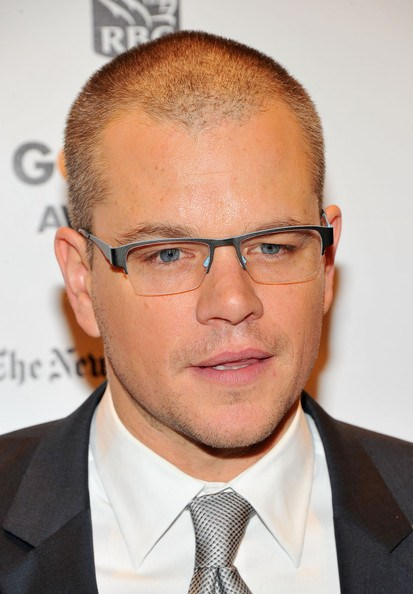 Rimless Glasses Bald : Matt Damon wearing Bevel Chin Chin eyeglasses