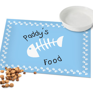 Personalised Blue Paw Print Cat Placemat From Something Personal
