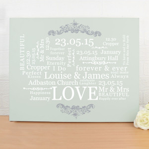 Personalised Wedding Typographic Art Canvas From Something Personal