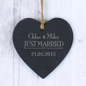 Personalised Just Married... Slate Heart Decoration From Something Personal
