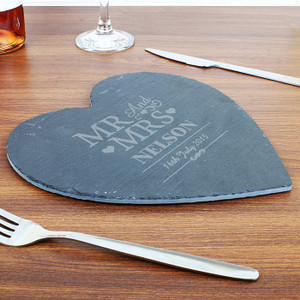 Personalised Mr & Mrs Slate Heart Placemat From Something Personal