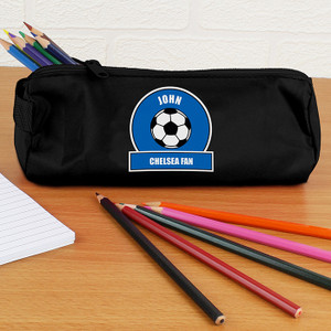 Personalised Blue Football Fan Pencil Case From Something Personal