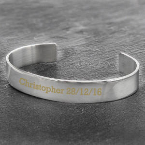 Personalised Stainless Steel Bangle From Something Personal