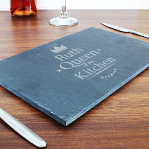 Personalised Queen Of The Kitchen Slate Cheeseboard From Something Personal
