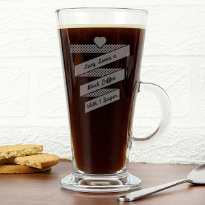 Personalised Heart Banner Latte Glass From Something Personal