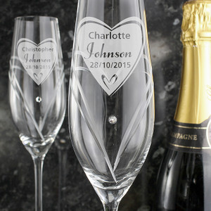 Personalised Hand Cut Heart Diamante Flutes With Swarovski Elements From Something Personal