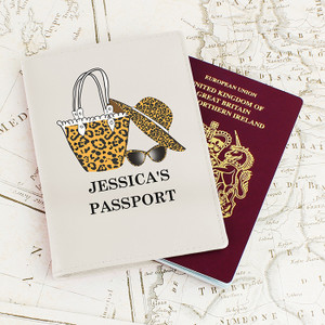 Personlised Leopard Print Cream Passport Holder From Something Personal