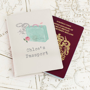 Personalised Vintage Suitcase Cream Passport Holder From Something Personal