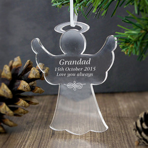 Personalised Acrylic Angel Decoration From Something Personal