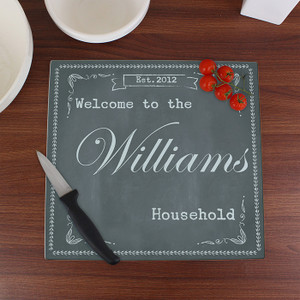 Personalised Family Chalk Glass Chopping Board From Something Personal