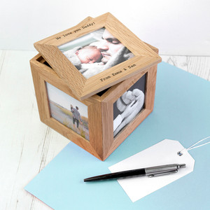 Personalised Oak Photo Cube Keepsake Box From Something Personal