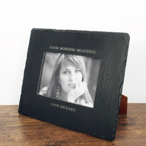 Personalised Slate Landscape Photo Frame From Something Personal