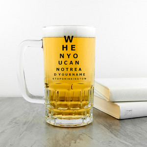 Personalised Opticians Chart Beer Glass Tankard From Something Personal