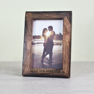 Personalised Darkened Wood Portrait Photo Frame From Something Personal