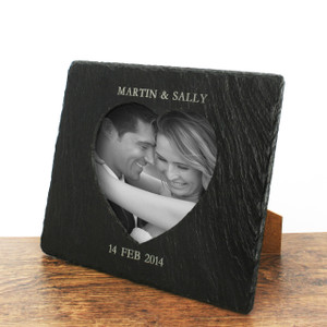 Personalised Heart Slate Photo Frame From Something Personal