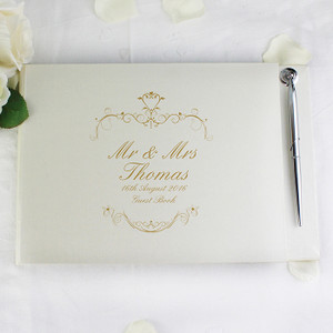 Personalised Gold Ornate Swirl Guest Book & Pen From Something Personal