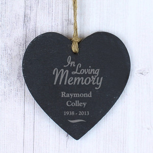 Personalised In Loving Memory Slate Heart From Something Personal
