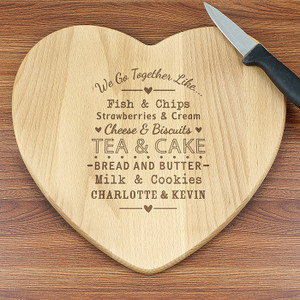 Personalised We Go Together Like... Heart Chopping Board From Something Personal