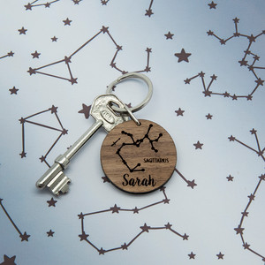 Personalised Zodiac Wooden Keyring From Something Personal