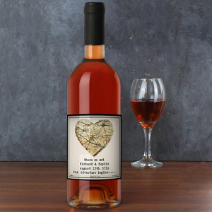 Personalised 1896 - 1904 Map Heart Rose Wine From Something Personal