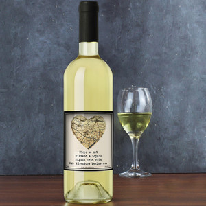 Personalised 1896 - 1904 Map Heart White Wine From Something Personal