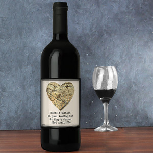 Personalised 1896 - 1904 Map Heart Red Wine From Something Personal