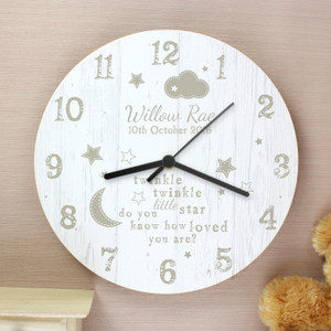 Personalised Twinkle Twinkle Shabby Chic Large Wooden Clock From Something Personal