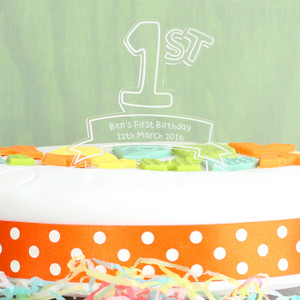 Personalised Acrylic '1st' Celebration Cake Topper From Something Personal