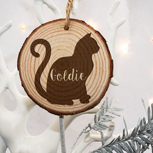 Personalised Engraved Cat Silhouette Christmas Tree Decoration From Something Personal