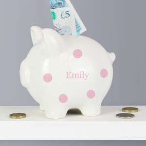 Personalised Pink Polka Dot Piggy Bank From Something Personal