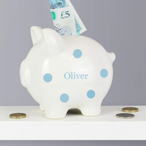 Personalised Blue Polka Dot Piggy Bank From Something Personal