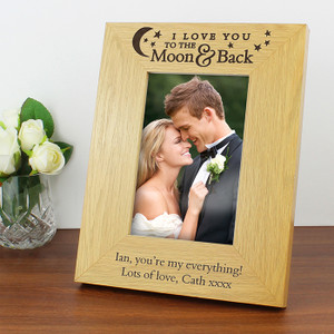 Personalised To The Moon & Back Oak Finish Photo Frame From Something Personal