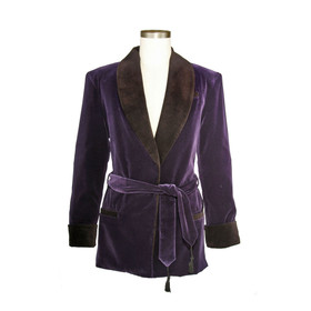 Men's Bilberry Purple Velvet Smoking Jacket with Purple Lining