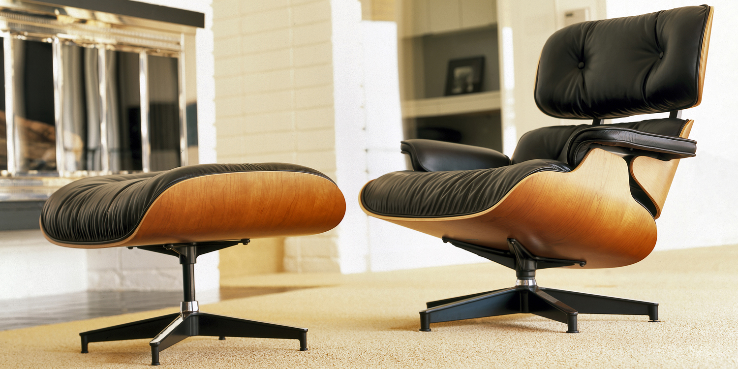 a history of the eames lounge chair ottoman papillon interiors. Black Bedroom Furniture Sets. Home Design Ideas