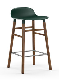 CLEARANCE Normann Copenhagen Form Barstool 65cm Green Seat & Walnut Base