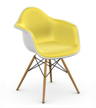 Vitra Eames DAW Chair - White / Yellow - Front Angle