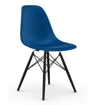 CLEARANCE Vitra Eames DSW Chair - Navy / Black Maple - Front Angle