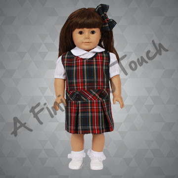 FT109- Drop-Waist Doll Jumper, Blouse and Bow for 18 inch doll