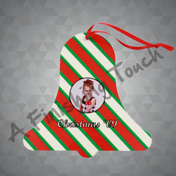 G069- Customized Bell Ornament w/Photo or Logo