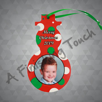 G072- Customized Snowman Ornament w/Photo Or Logo